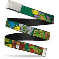 Blank Chrome Buckle Classic Teenage Mutant Ninja Turtles Character Web Belt