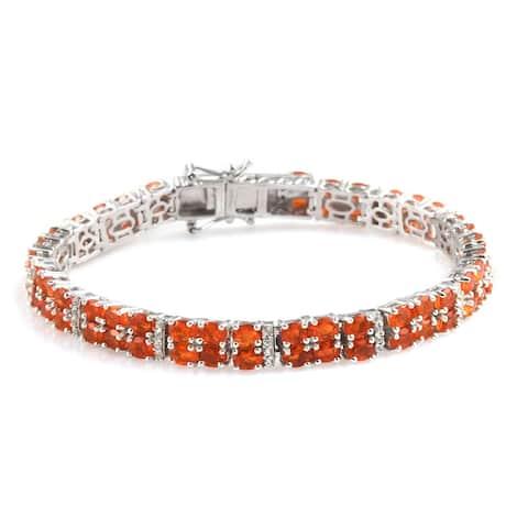 925 Silver Crimson Fire Opal Zircon Bracelet Size 7.25 In Ct 8.5 - Bracelet 7.25''