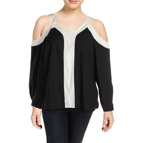 Calvin Klein Womens Plus Pullover Top Cold Shoulder Colorblock