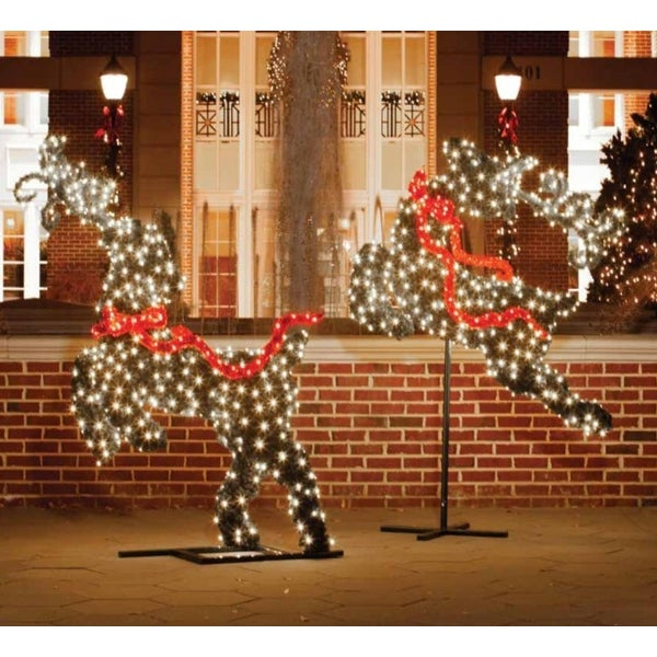 6' Giant Commercial Grade LED Lighted Flying Reindeer Topiary Outdoor Christmas Decoration - green