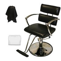 LCL Beauty Contemporary Black Hydraulic Barber Styling Chair with Chrome Armrests