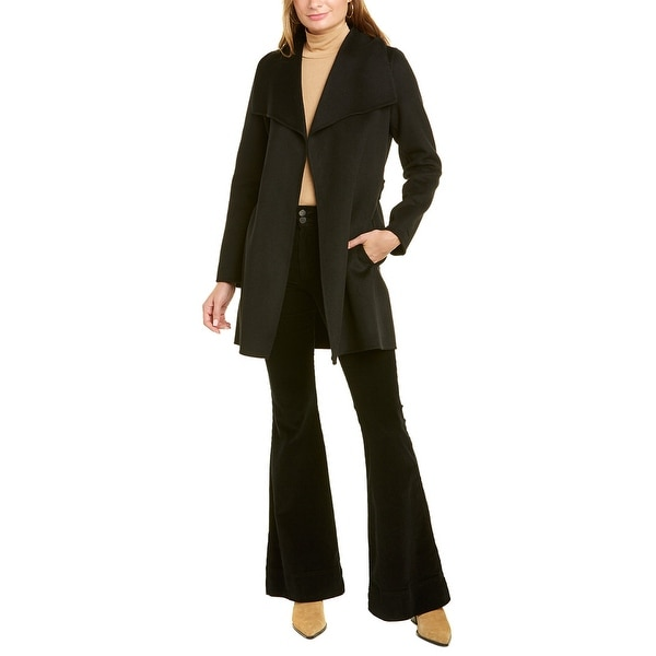 Tahari Ella Wool-Blend Wrap Coat. Opens flyout.
