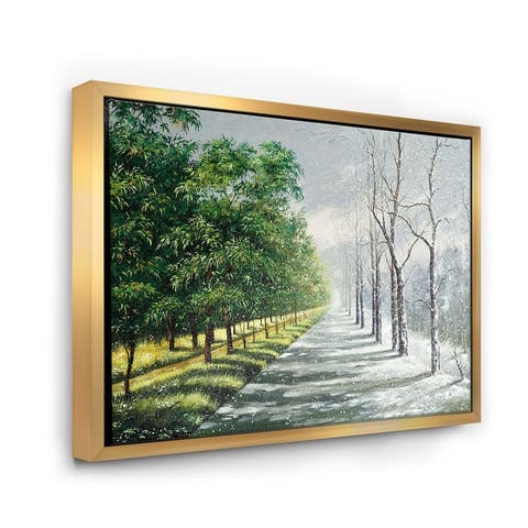 Designart 'Winter and Summer United' Country Framed Canvas Wall Art Print