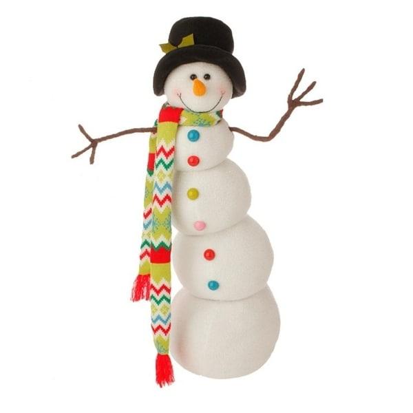 "26"" Merry & Bright Posable Snowman Christmas Decoration - WHITE"