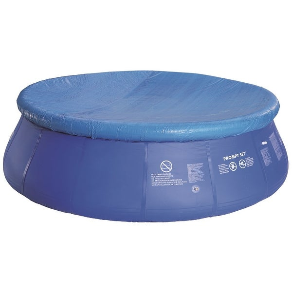 10.8' Durable Apertured Round Blue Swimming Pool Cover with Rope Ties