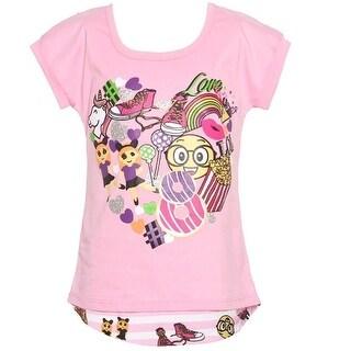 Girls Pink Summer Entertainment Print Stripe Short Sleeve T-Shirt