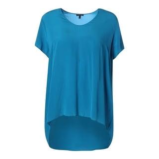 Eileen Fisher Womens Plus Silk Jewel Neck Pullover Top