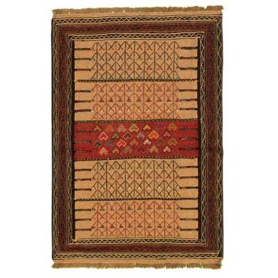 ECARPETGALLERY Flat-weave Ottoman Natura Tan Wool Kilim - 3'7 x 5'7
