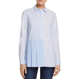 French Connection Womens Button-Down Top Striped Ruffled