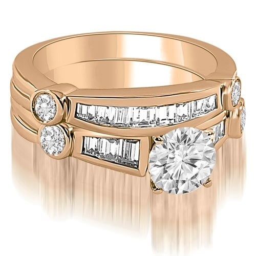 2.05 cttw. 14K Rose Gold Antique Round And Baguette Cut Diamond Bridal Set