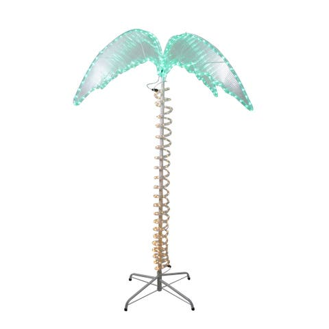 4.5' Green and Tan LED Palm Tree Rope Light Outdoor Decoration