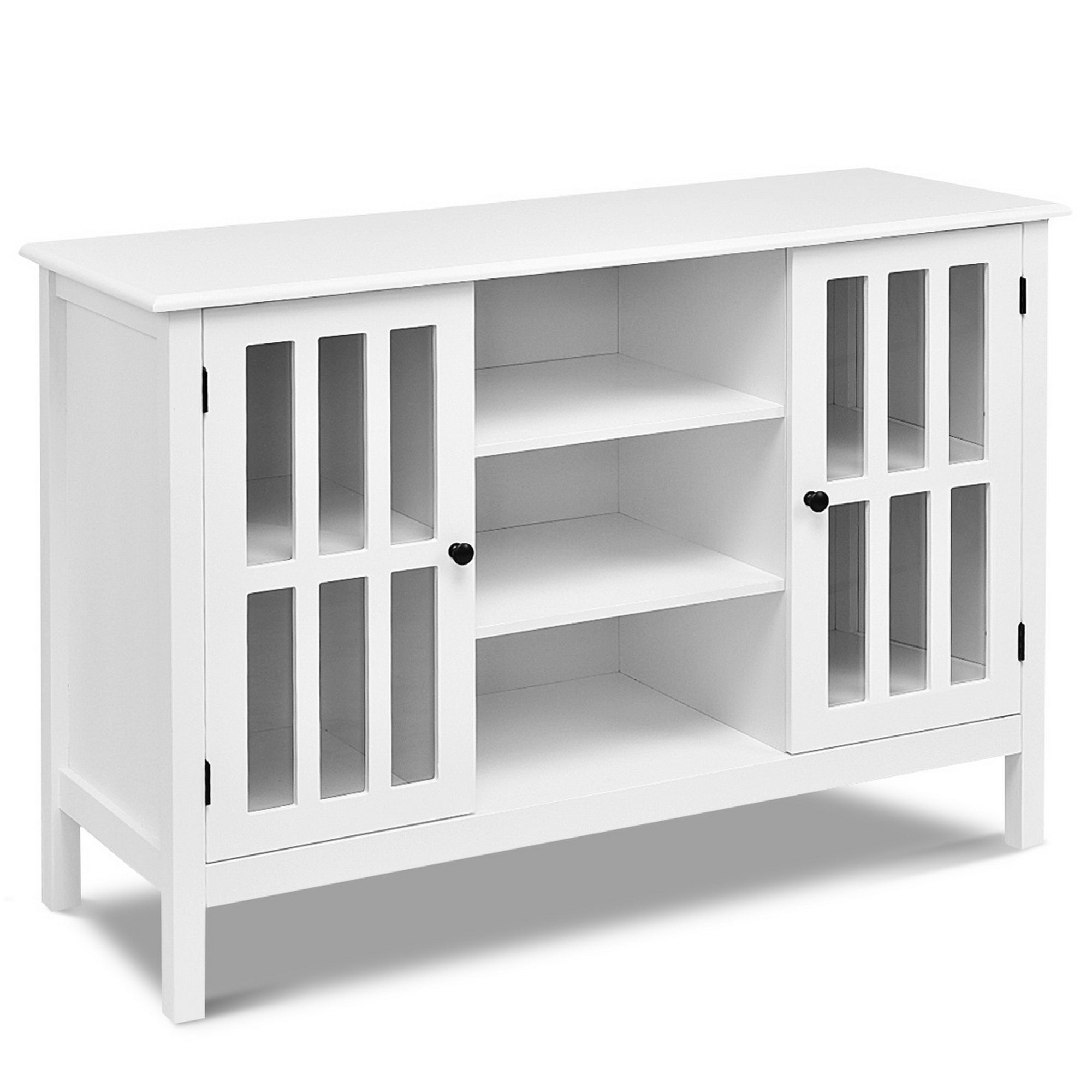 Shop Wood Tv Stand Free Standing Storage Console Cabinet For 45 Tv White Overstock 31491617