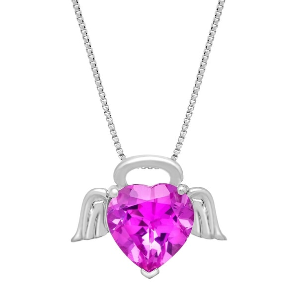 4 1/2 ct Created Pink Sapphire Angel Heart Pendant  in Sterling Silver