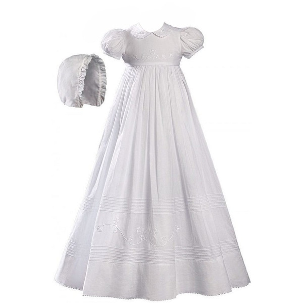 Baby Girls White Cotton Embroidered Short Sleeve Hat Christening Gown - 6-12 months