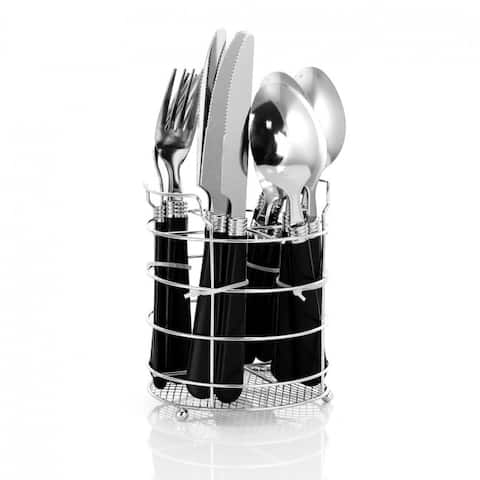 Gibson 16 Piece Stainless Steel Flatware Set with Chrome Caddy - Black