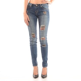 Destructed Skinny Jean With Plaid
