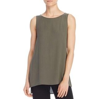 Eileen Fisher Womens Petites Tank Top Silk Side Slit
