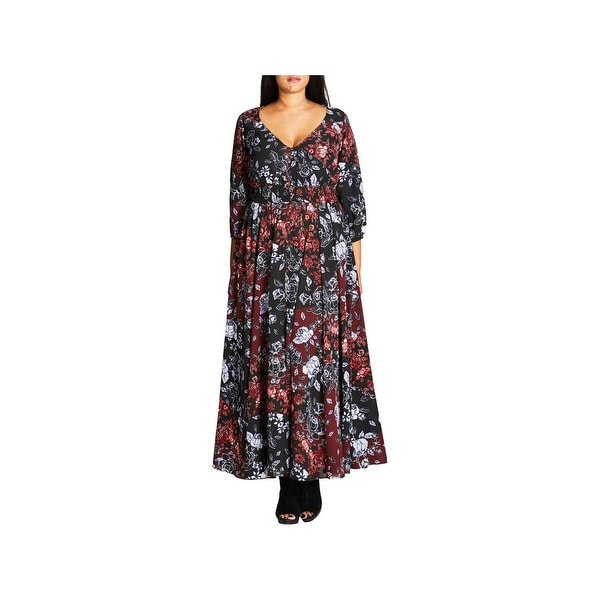 e792337ea92bb Shop City Chic Womens Plus Maxi Dress Floral Button Front - Free ...