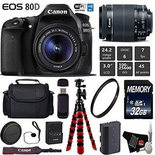 Canon EOS 80D DSLR Camera with 18-55mm is STM Lens + UV Protection Filter + Card Reader - Intl Model
