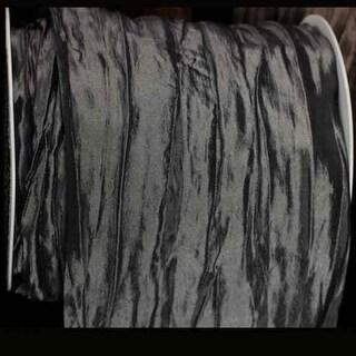 "Grey Heat Treated Cut Edge Pleated Tulle Craft Ribbon 4"" x 11 yards"