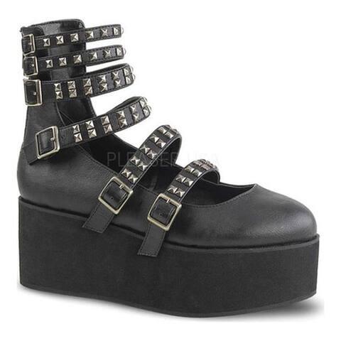 Demonia Women's Grip 31 Strappy Platform Mary Jane Black Vegan Leather