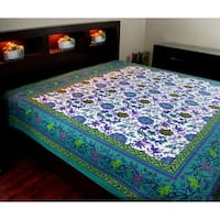 Cotton Floral Tapestry Tablecloth Rectangular Bedspread Beash Sheet Throw Bed Sheet Dorm Decor Aquamarine - Twin, Full