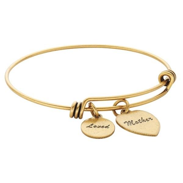 Women's Friends And Family Brass Bangle Bracelet - Mother - Gold