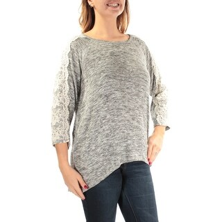 STYLE & COMPANY Womens New 1367 Gray Lace Jewel Neck 3/4 Sleeve Sweater L B+B