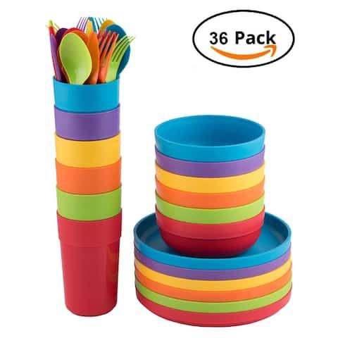 Plastic Kids Dinner Set 36-Piece-(6 Each) With 18 Pcs Flatware Round