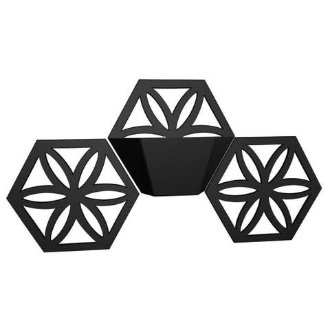 Floral Star Triple Hexagon Indoor/Outdoor Wall Planter - 15 X 30 X 3.5 inches