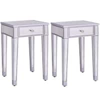 Costway 2 PCS Mirrored Accent Table Nightstand End Table Storage Cabinet Drawer
