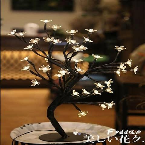 LED Cherry Blossom Crystal Star Desk Top Bonsai Tree Light Branches Romantic Wedding Decoration Home Décor cherry Blossom