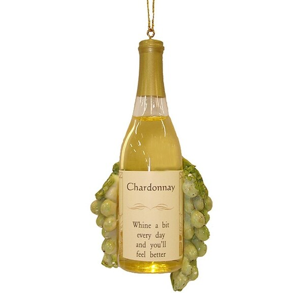 """4.5"""" Vintage Tuscan Winery Chardonnay Wine Bottle and Grapes Christmas Ornament - YELLOW"""