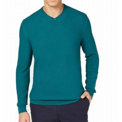 Tasso Elba Pacific Green Mens Size Medium M Ribbed V-Neck Sweater