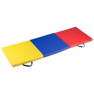 Gymax 6'x2' Fitness Exercise Tri-Fold Gymnastics Mat Colorful