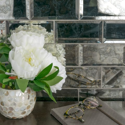"""SomerTile Luster Beveled Antique Mirror 2.875"""" x 5.87"""" Glass Wall Tile"""
