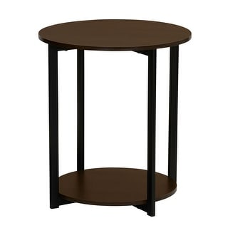 Household Essentials 2 Tier Round Table in Walnut, 24H x 20.3 Diameter - 20''D 24''H