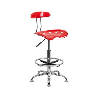 Offex Vibrant Red and Chrome Drafting Stool with Tractor Seat [OF-LF-215-RED-GG]