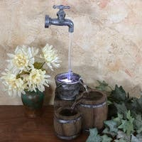 Sunnydaze Floating Faucet and Barrel Tabletop Water Fountain with LED Light