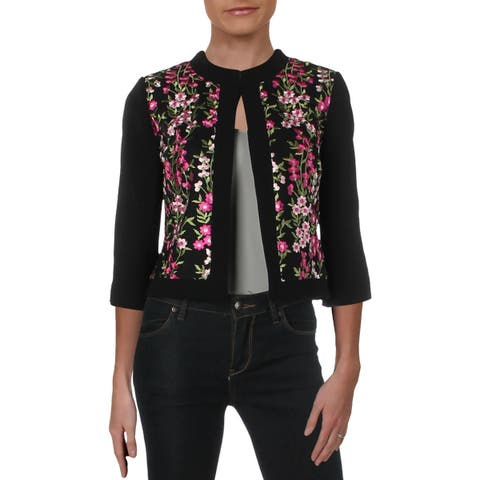 Tahari ASL Womens Petites Cropped Jacket Embroidered Office