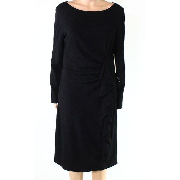 d7608bf68b06 Shop Eliza J Deep Black Womens Size 16 Gathered Ruffled Sheath Dress ...