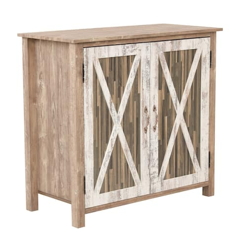 OS Home and Office Model 41002 Xandro Two Door Cabinet with Rustic Barn Style Doors - 52 x 63
