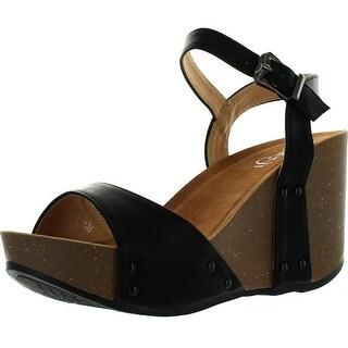 Refresh Mara-06 Womens Ankle Strap Comfort Wide Band Platform Wedge Sandals - Black