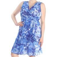 RALPH LAUREN Womens Blue Floral Sleeveless V Neck Knee Length Faux Wrap Dress  Size: 16