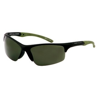 Perry Ellis Mens Bottom Rimless Plastic Active Sunglasses Blk/Gr PE72-2, Includes Perry Ellis Pouch, 100% UV Protection - Green