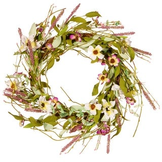 Assorted Spring Artificial Flower Wreath - 22-Inch - Multi - N/A