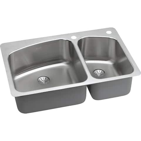 "Elkay LKHSR2509RPD Lustertone 33"" Double Basin Stainless Steel Kitchen Sink for Drop In or Undermount Installations with 60/40"