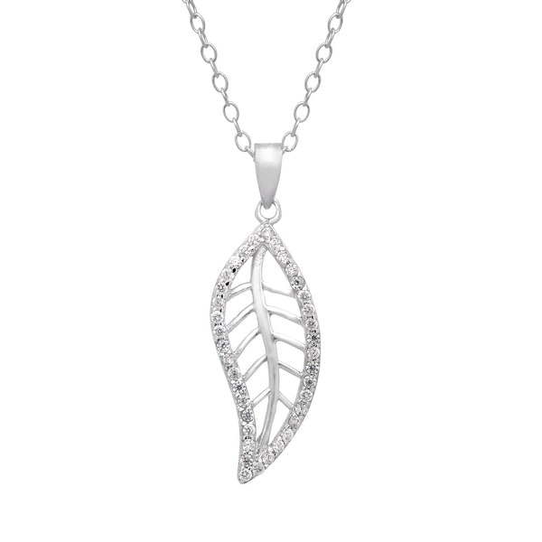 Open Leaf Pendant with Cubic Zirconia in Sterling Silver - White