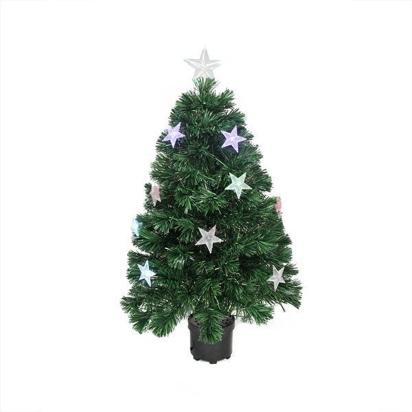 4' Pre-Lit LED Color Changing Fiber Optic Artificial Christmas Tree with Stars - green