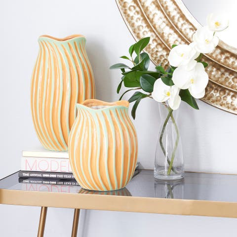 Orange Ceramic Modern Vase (Set of 2) - 7 x 7 x 12